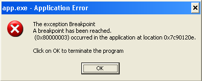 Breakpoint Messages Box on XP
