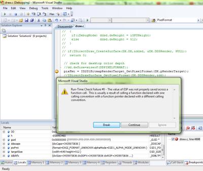 Direct2D - Run Time Check Error #0 - ESP Not Properly Saved
